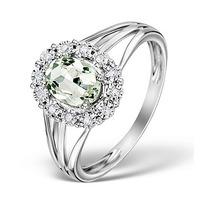 Aquamarine 7 x 5mm and Diamond 9K White Gold Ring