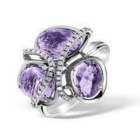 4.75ct Amethyst 0.14ct Diamond and 9K White Gold Ring -  E5927