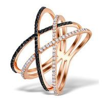 Vivara Collection Diamond and Black Diamond 9K Rose Gold Ring E5949