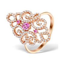 Vivara Collection Pink Sapphire 0.42ct Diamond 9K Rose Gold Ring E5956