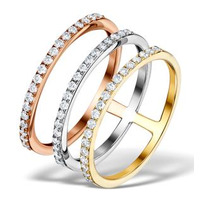 Vivara Collection 0.65ct Diamond and 9K Tri Colour Gold Ring E5963