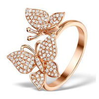 Vivara Collection 0.46ct Diamond and 9K Rose Gold Butterfly Ring E5964