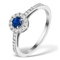Sapphire Halo Martini  0.25CT Diamond Ring in 9K White Gold E5969