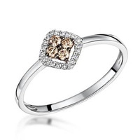 Stellato Brown Halo Diamond Ring 0.15ct in 9K White Gold