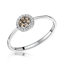 Stellato Champagne Diamond Halo Ring 0.16ct in 9K White Gold