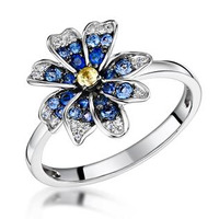 Blue Sapphire Yellow Sapphire and Diamond Stellato Ring 9K White Gold