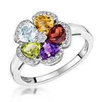 Citrine Garnet Peridot Blue Topaz Diamond Stellato Ring 9K White Gold