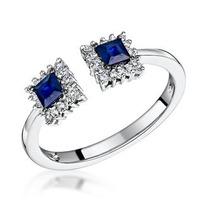 Sapphire and Diamond Stellato Ring 0.11ct in 9K White Gold