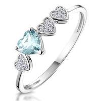 0.28ct Aquamarine and Diamond Stellato Ring in 9K White Gold