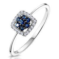 0.15ct Sapphire and Diamond Stellato Ring in 9K White Gold