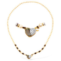 9K Gold Pearl and Diamond Necklace with Heart Detail 15Inches
