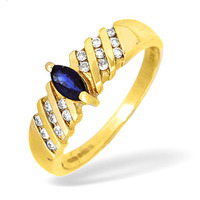 9K Gold Channel Set Brilliant Diamond and Sapphire Ring 0.10CT