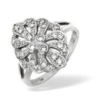 Platinum Diamond Vintage Design Ring 0.35ct