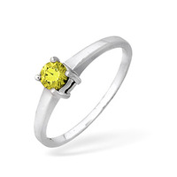 9KW Yellow Diamond Single Stone Ring 0.25CT