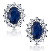 Sapphire and 0.5ct Diamond Earrings 18K White Gold Asteria Collection