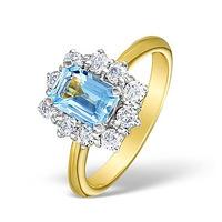 Aquamarine 0.85ct and Diamond 0.50ct 18K Gold Ring