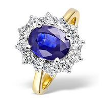 Tanzanite 9 x 7mm And Diamond 18K Gold Ring