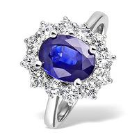 Tanzanite 9 x 7mm And 1.00ct Diamond 18K White Gold Ring
