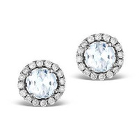 Diamond Halo Aquamarine Earrings 0.50CT - 18K White Gold FG27-CSY