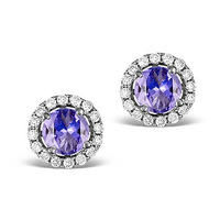 Diamond Halo Tanzanite Earrings 0.55CT - 18K White Gold FG27-VY