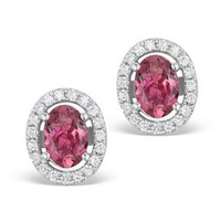 Pink Tourmaline 1.60CT and Diamond Halo Earrings 18K White Gold FG29