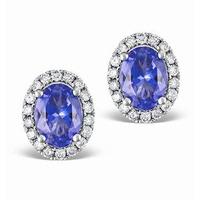 Tanzanite 7 x 5mm And Diamond 18K White Gold Earrings