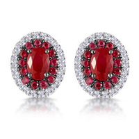 Ruby and Diamond Halo Earrings in 18K Gold - Asteria Collection