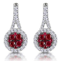 0.75ct Ruby and Diamond Halo Earrings 18KW Gold - Asteria Collection