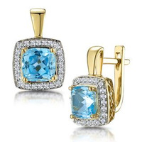 3ct Blue Topaz and Diamond Halo Earrings 18K Gold - Asteria Collection