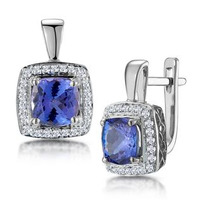 3ct Tanzanite and Diamond Halo Earrings 18KW Gold - Asteria Collection