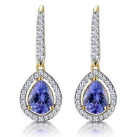1.4ct Tanzanite and Diamond Halo Earrings 18K Gold Asteria Collection