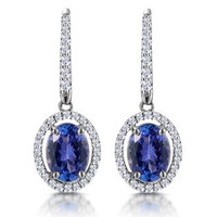 1.6ct Tanzanite and Diamond Halo Earrings 18KW Gold Asteria Collection
