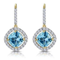 2.5ct Blue Topaz and Diamond Halo Earrings 18K Gold Asteria Collection
