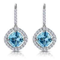 2.5ct Blue Topaz and Diamond Halo Asteria Earrings 18K White Gold