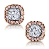 Diamond and Pink Diamond Halo Asteria Oval Earrings in 18K Rose Gold