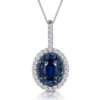 Sapphire and Diamond Oval Halo Necklace 18KW Gold Asteria Collection