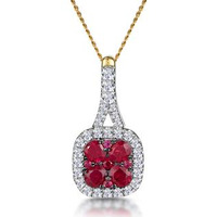 Ruby and Diamond Halo Necklace in 18K Gold - Asteria Collection