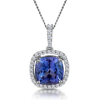 2ct Tanzanite and Diamond Halo Necklace 18KW Gold Asteria Collection