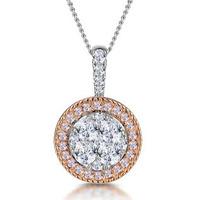 Diamond and Pink Diamond Halo Circle Necklace - Asteria Collection