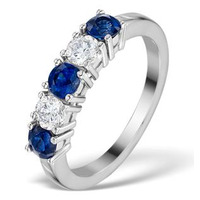 Sapphire 0.90CT and Diamond Ring 0.40CT White 18K Gold FT26