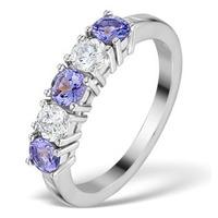 Tanzanite 0.75CT and Diamond Ring 0.40CT 18K White Gold FT26