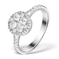 Halo Engagement Ring Galileo 0.80ct of Diamonds in 18K Gold - FT61