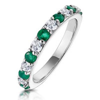 Emerald and 0.50ct Diamond Asteria Eternity Ring 18K White Gold