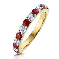 Ruby and 0.50ct Diamond Asteria Eternity Ring in 18K Gold