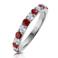 Ruby and 0.50ct Diamond Asteria Eternity Ring in 18K White Gold