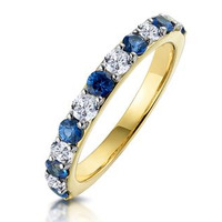Sapphire and 0.50ct Diamond Asteria Eternity Ring in 18K Gold