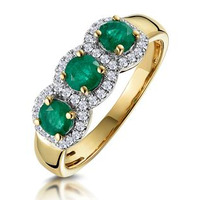 Emerald and Diamond Halo Trilogy Ring in 18K Gold - Asteria Collection