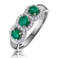 Emerald and Diamond Halo Trilogy Asteria Ring in 18K White Gold