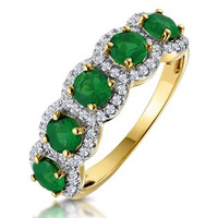 Emerald and Diamond Halo 5 Stone Asteria Ring in 18K Gold