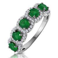 Emerald and Diamond Halo 5 Stone Asteria Ring in 18K White Gold